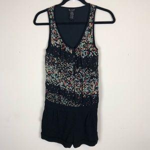 ELLA MOSS | Silk Black Romper Floral Shorts XS